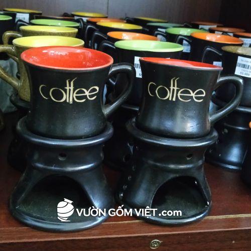 Bếp đun cafe đốt nến men đen