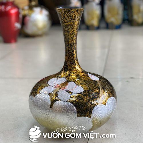 Bình gốm sứ men nhám vàng vẽ hoa cổ cao