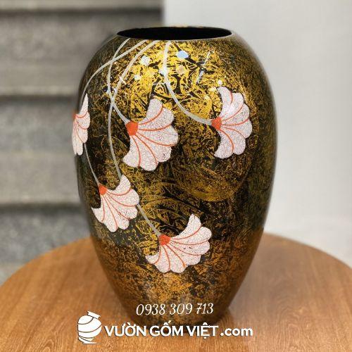 Bình gốm sứ men nhám vàng vẽ hoa dáng xoài