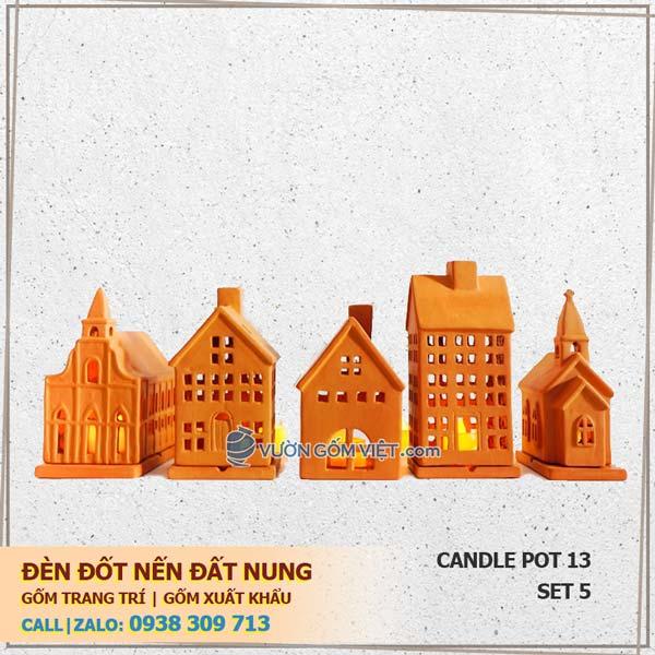 Bộ 5 đèn nến ngôi nhà 13 Đèn đốt nến trang trí Terracotta