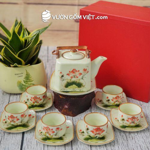 Bộ trà Bát Tràng vẽ hoa sen 02