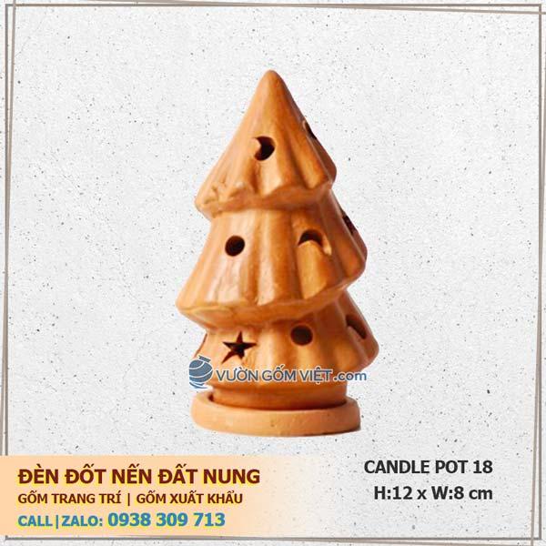 Đèn đốt nến cây thông mini 18 Đèn nến trang trí Terracotta