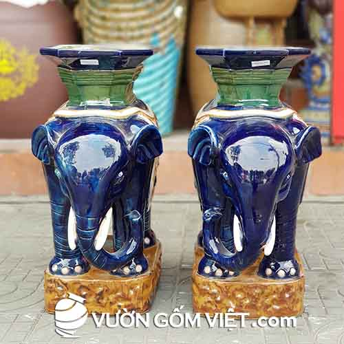Đôn voi đứng bệ (xanh dương)