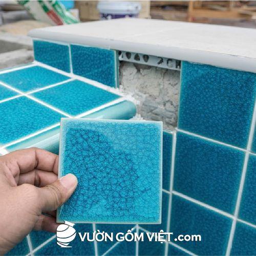 Gạch mosaic vuông lớn men rạn màu trơn
