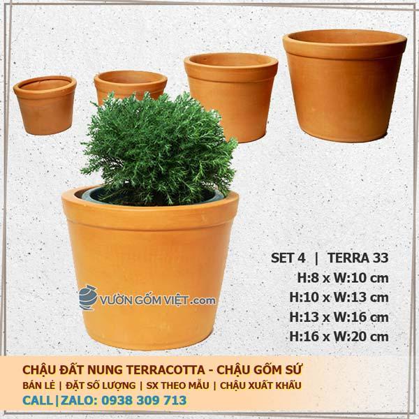 Set 4 chậu trồng cây gốm đất nung trụ loe 33