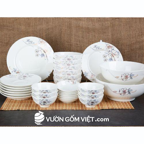Tô chén bát đĩa sứ trắng in hoa cao cấp