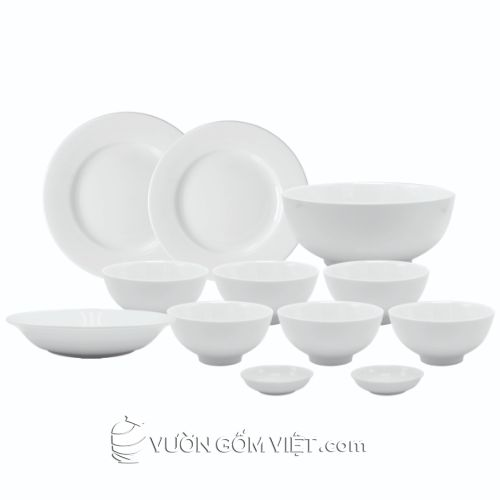 Tô chén bát đĩa sứ trắng trơn