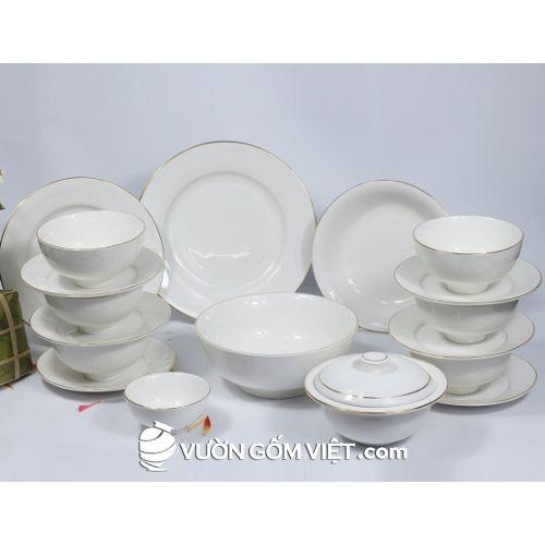 Tô chén bát đĩa sứ trắng viền kim