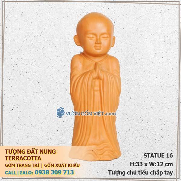 Tượng chú tiểu chắp tay 16 gốm đất nung trang trí Terracotta