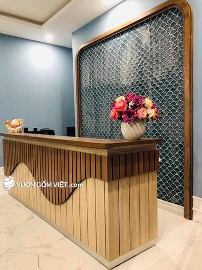 Thiết kế không gian nhà hàng khách sạn đẹp với gạch gốm sứ, gạch mosaic ốp tường