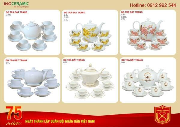 Bộ quà tặng ấm trà sứ in logo theo yêu cầu
